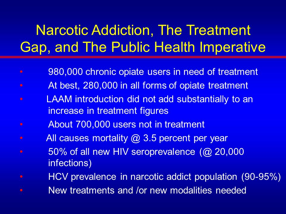 Narcotic Addiction, The Treatment Gap, and The Public Health Imperative 980,000 chronic opiate users in need of treatment At best, 280,000 in all form