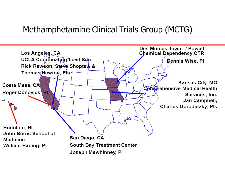 San Diego, CA South Bay Treatment Center Joseph Mawhinney, PI Methamphetamine Clinical Trials Group (MCTG ) Costa Mesa, CA Roger Donovick, PI Des Moin