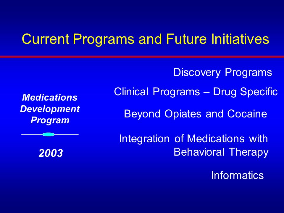 Discovery Programs Clinical Programs – Drug Specific Integration of Medications with Behavioral Therapy Beyond Opiates and Cocaine Informatics Medicat