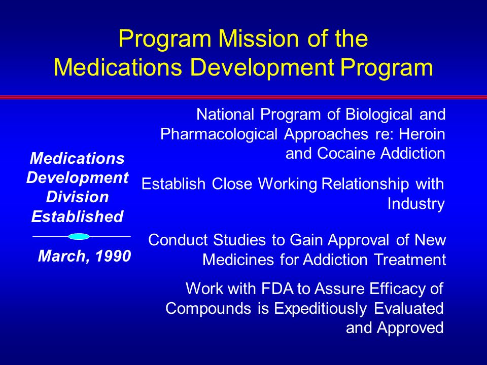 Initial Medications Program – Early 90s Operations LAAM, buprenorphine, depot naltrexone Cocaine Pharmacotherapy program- –Clinical effort …Grantees used primarily marketed medications in clinical studies –Cocaine Treatment Discovery Program started with advice from PMA group –Established series of contracts for in vitro and in vivo tests –Met with industry, academic, and government sources soliciting compounds to test Meetings with FDA re development issues