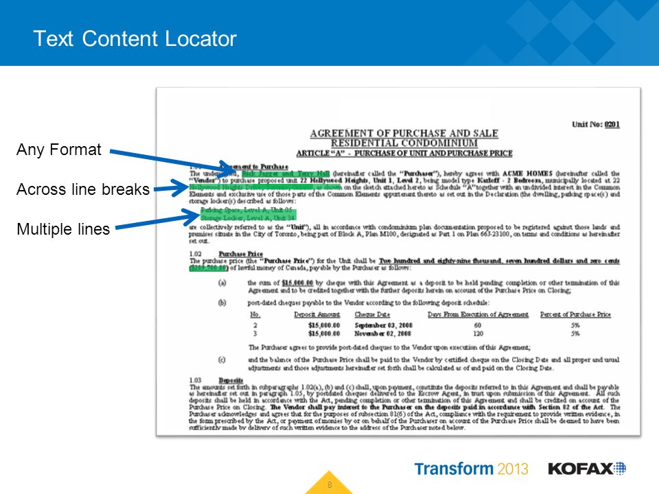 Text Content Locator 8 Any Format Across line breaks Multiple lines