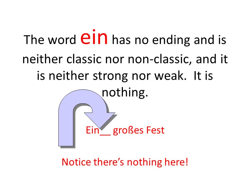 The word ein has no ending and is neither classic nor non-classic, and it is neither strong nor weak. It is nothing. Ein__ großes Fest Notice theres n