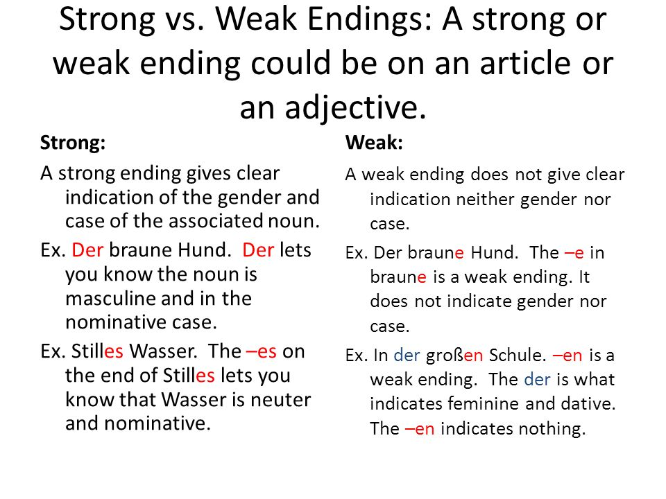 Strong vs. Weak Endings: A strong or weak ending could be on an article or an adjective. Strong: A strong ending gives clear indication of the gender