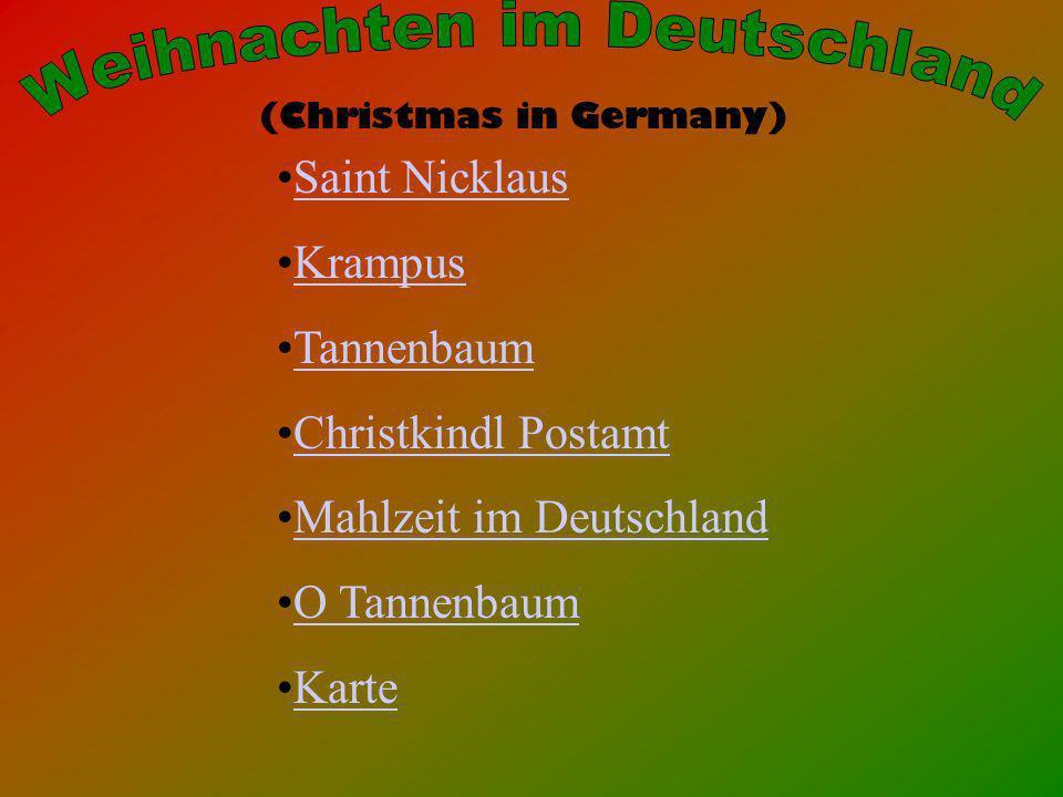 (Christmas in Germany) Saint Nicklaus Krampus Tannenbaum Christkindl Postamt Mahlzeit im Deutschland O Tannenbaum Karte