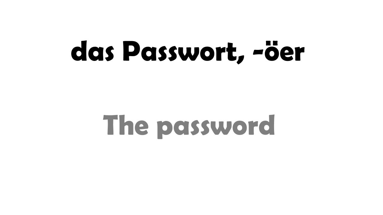 das Passwort, -öer The password