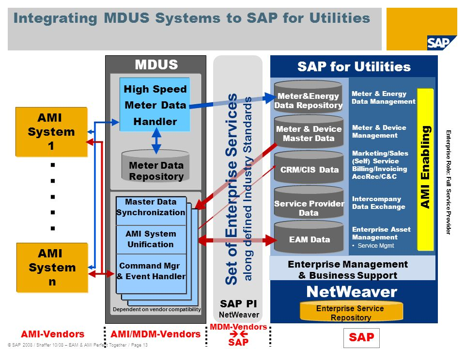 © SAP 2008 / Shaffer 10/08 – EAM & AMI Perfect Together / Page 13 Integrating MDUS Systems to SAP for Utilities AMI System 1 AMI System n.....