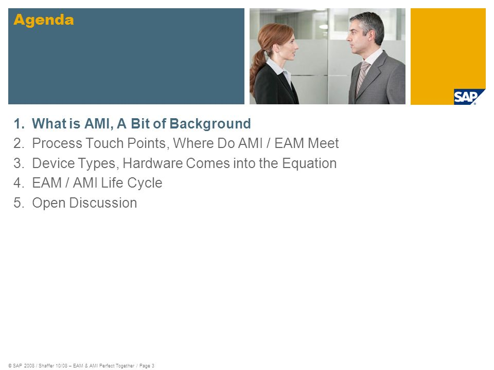 © SAP 2008 / Shaffer 10/08 – EAM & AMI Perfect Together / Page 3 1.What is AMI, A Bit of Background 2.Process Touch Points, Where Do AMI / EAM Meet 3.Device Types, Hardware Comes into the Equation 4.EAM / AMI Life Cycle 5.Open Discussion Agenda