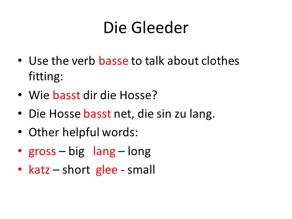 Iewing - Practice Answer the following questions in PD: Was draagscht du heit.