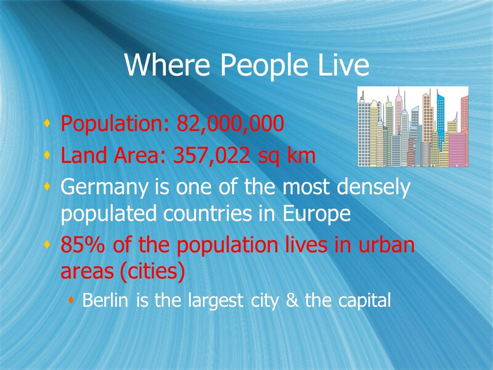 Where People Live Population: 82,000,000 Land Area: 357,022 sq km Germany is one of the most densely populated countries in Europe 85% of the populati