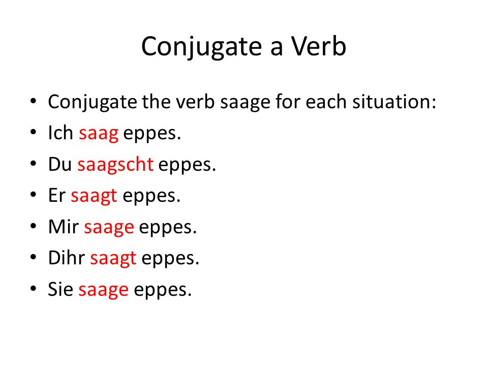 Conjugate a Verb Conjugate the verb saage for each situation: Ich saag eppes.