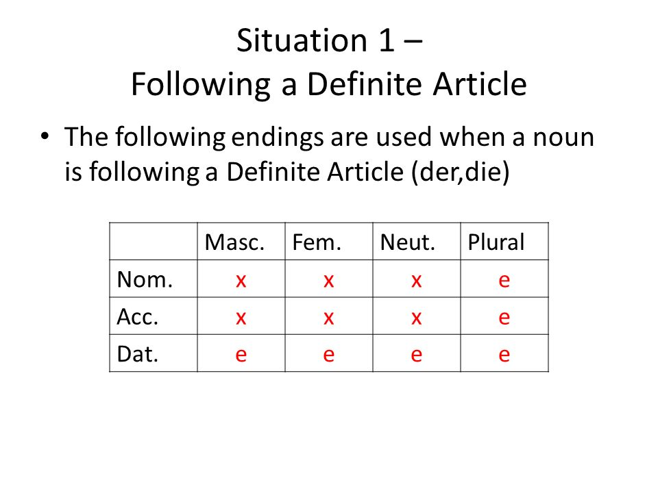 Situation 1 – Following a Definite Article The following endings are used when a noun is following a Definite Article (der,die) Masc.Fem.Neut.Plural Nom.xxxe Acc.xxxe Dat.eeee
