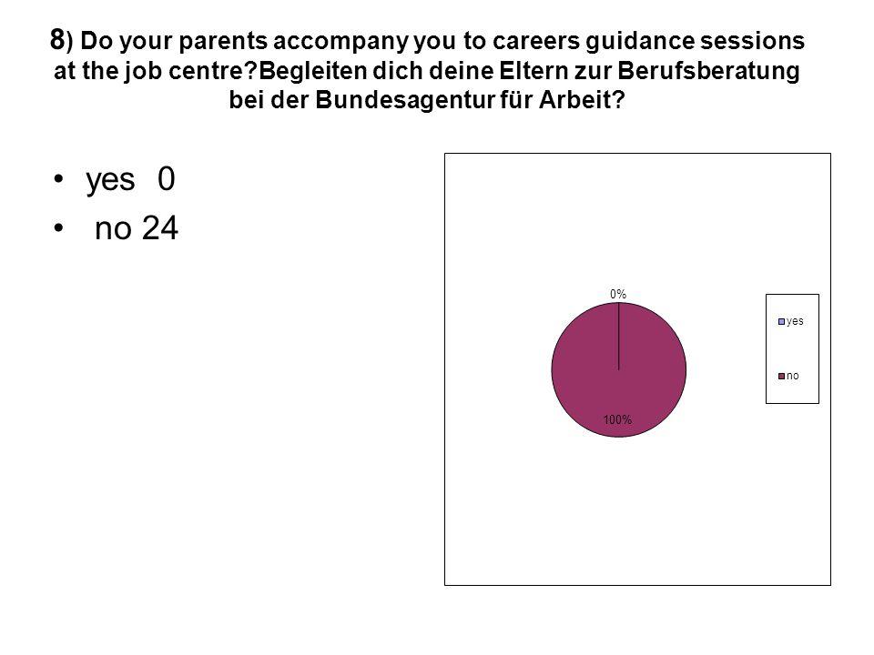 8 ) Do your parents accompany you to careers guidance sessions at the job centre?Begleiten dich deine Eltern zur Berufsberatung bei der Bundesagentur