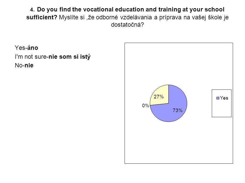 4. Do you find the vocational education and training at your school sufficient? Myslíte si,že odborné vzdelávania a príprava na vašej škole je dostato