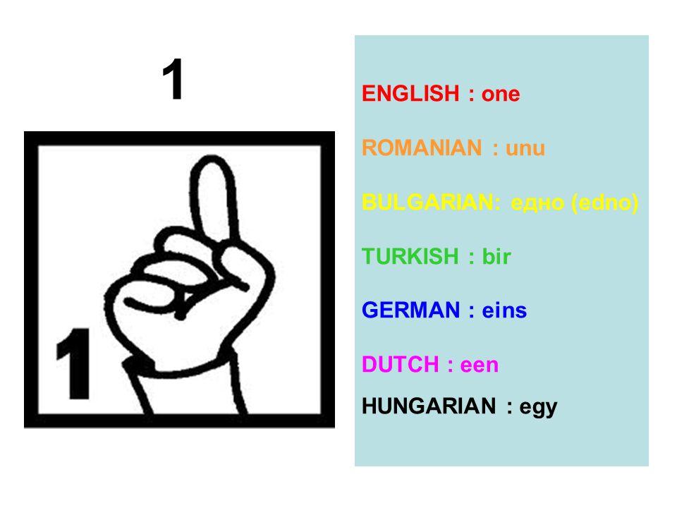 ENGLISH : one ROMANIAN : unu BULGARIAN: eдно (edno) TURKISH : bir GERMAN : eins DUTCH : een HUNGARIAN : egy 1