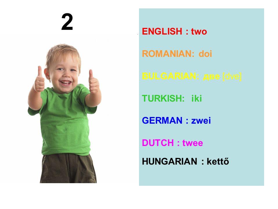 ENGLISH : two ROMANIAN: doi BULGARIAN: две [dve] TURKISH: iki GERMAN : zwei DUTCH : twee HUNGARIAN : kettő 2