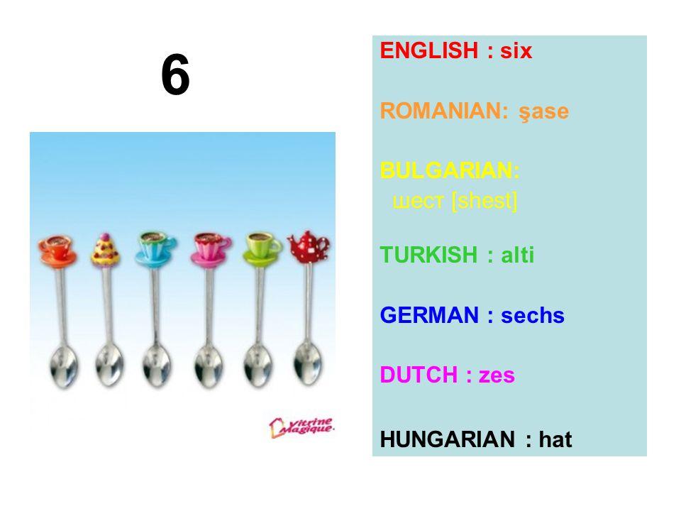 ENGLISH : six ROMANIAN: şase BULGARIAN: шест [shest] TURKISH : alti GERMAN : sechs DUTCH : zes HUNGARIAN : hat 6