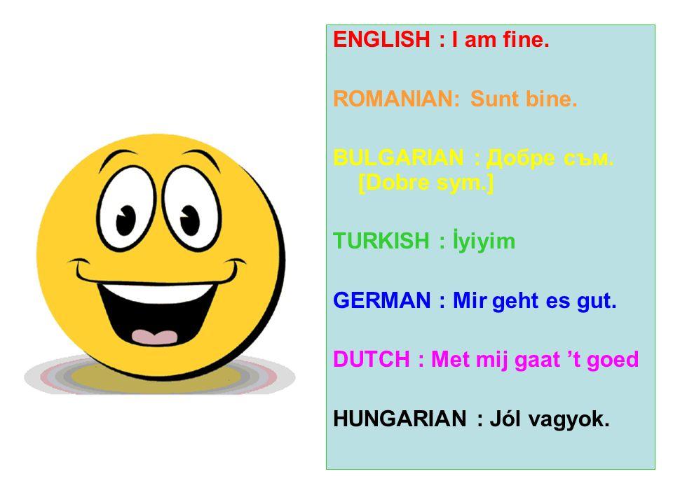 ENGLISH : I am fine. ROMANIAN: Sunt bine. BULGARIAN : Добре съм. [Dobre sym.] TURKISH : İyiyim GERMAN : Mir geht es gut. DUTCH : Met mij gaat t goed H