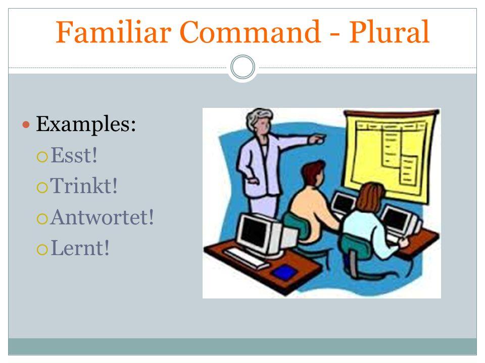 Familiar Command - Plural Examples: Esst! Trinkt! Antwortet! Lernt!