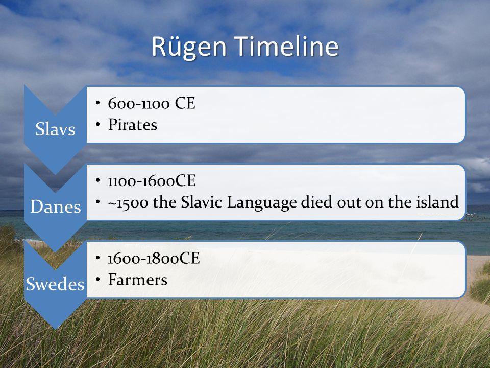 Rügen Timeline Slavs 600-1100 CE Pirates Danes 1100-1600CE ~1500 the Slavic Language died out on the island Swedes 1600-1800CE Farmers