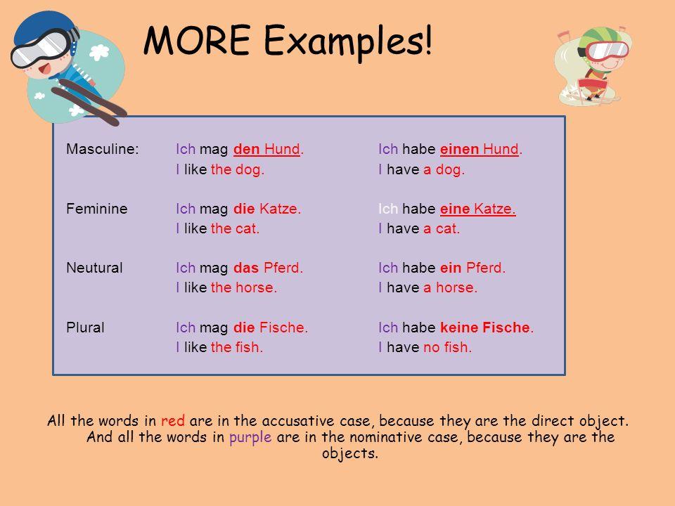 MORE Examples. Masculine:Ich mag den Hund.Ich habe einen Hund.