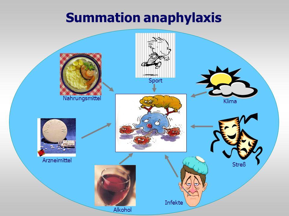 Summation anaphylaxis Nahrungsmittel Infekte Streß Klima Sport Arzneimittel Alkohol