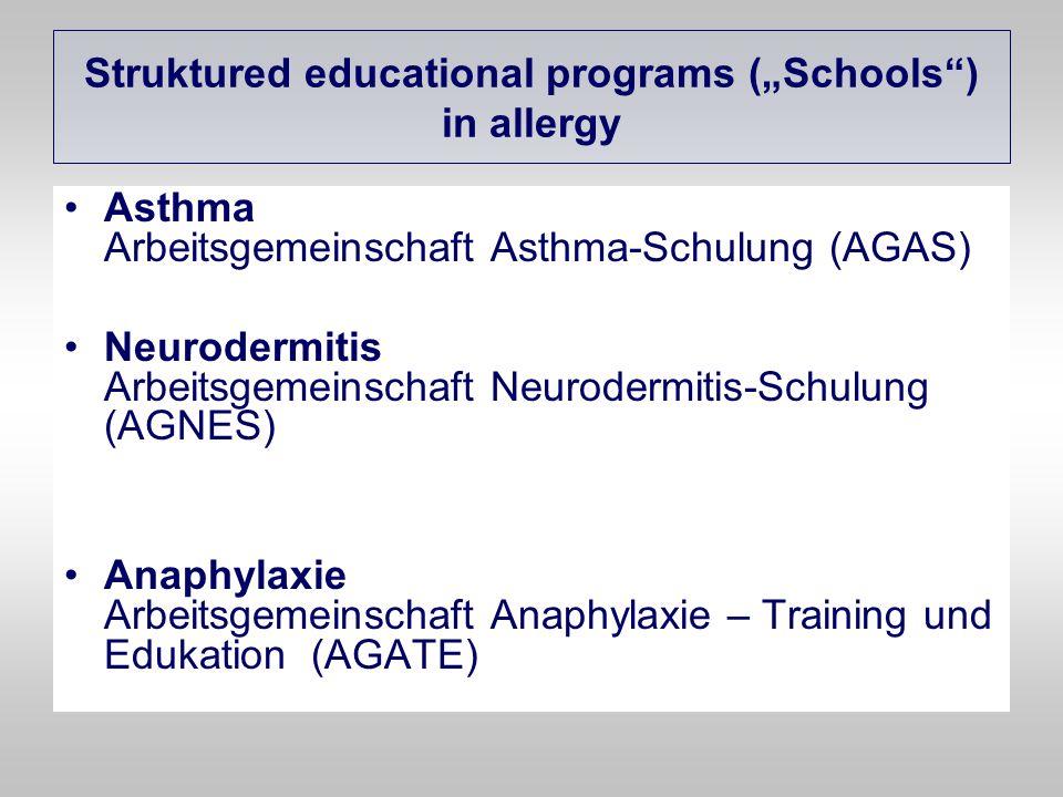 Struktured educational programs (Schools) in allergy Asthma Arbeitsgemeinschaft Asthma-Schulung (AGAS) Neurodermitis Arbeitsgemeinschaft Neurodermitis