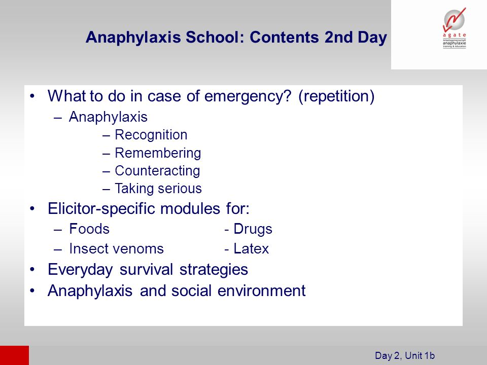 What to do in case of emergency? (repetition) –Anaphylaxis –Recognition –Remembering –Counteracting –Taking serious Elicitor-specific modules for: –Fo