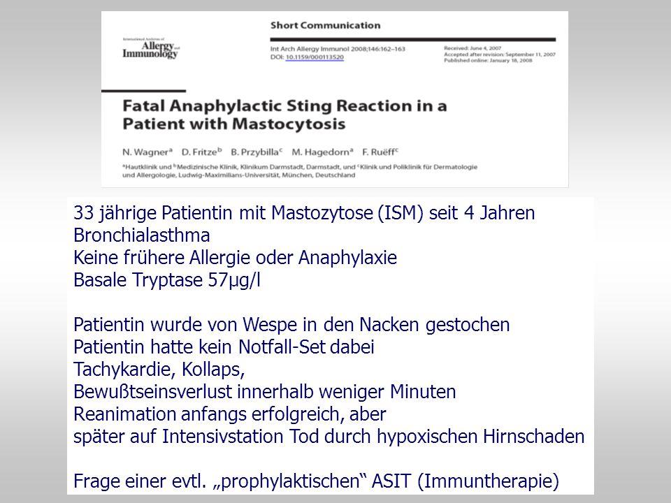33 jährige Patientin mit Mastozytose (ISM) seit 4 Jahren Bronchialasthma Keine frühere Allergie oder Anaphylaxie Basale Tryptase 57µg/l Patientin wurd
