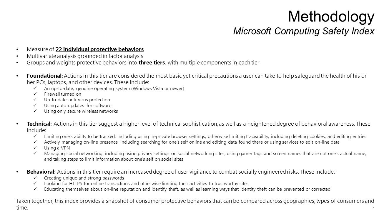 3 Methodology Microsoft Computing Safety Index Measure of 22 individual protective behaviors Multivariate analysis grounded in factor analysis Groups