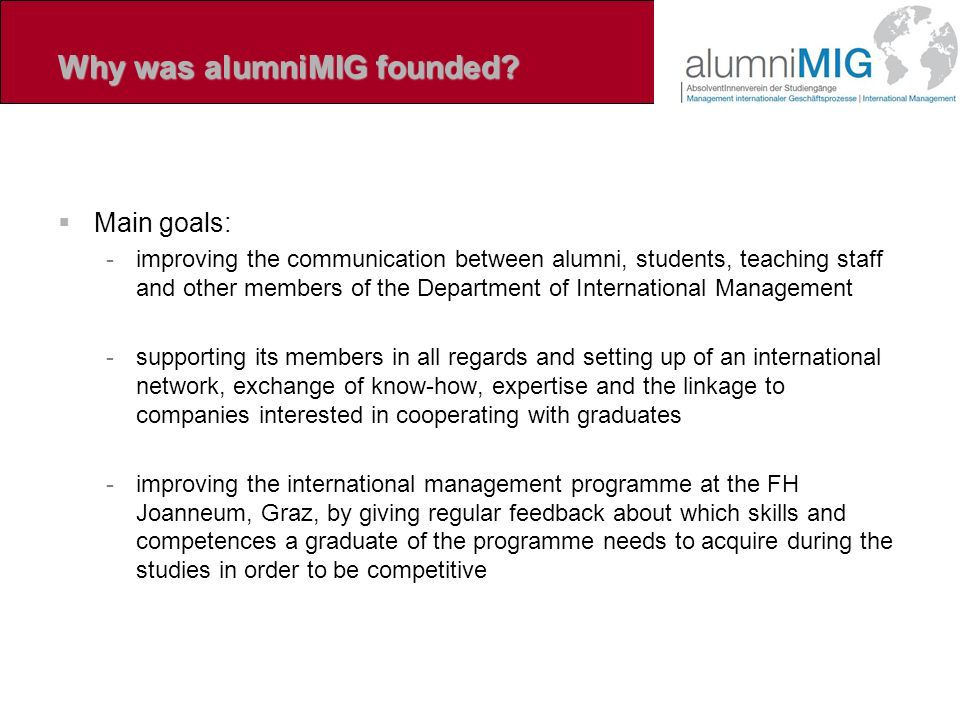 Why was alumniMIG founded.