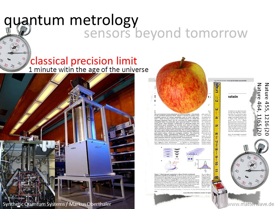 quantum metrology sensors beyond tomorrow 1 minute witin the age of the universe classical precision limit Nature 455, 1216 (2008) Nature 464, 1165 (2010) Synthetic Quantum Systems / Markus Oberthaler www.matterwave.de