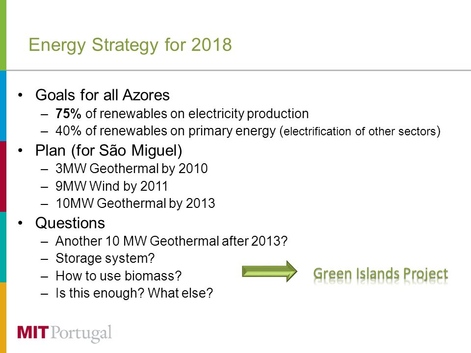 Energy Strategy for 2018 Goals for all Azores –75% of renewables on electricity production –40% of renewables on primary energy ( electrification of other sectors ) Plan (for São Miguel) –3MW Geothermal by 2010 –9MW Wind by 2011 –10MW Geothermal by 2013 Questions –Another 10 MW Geothermal after 2013.