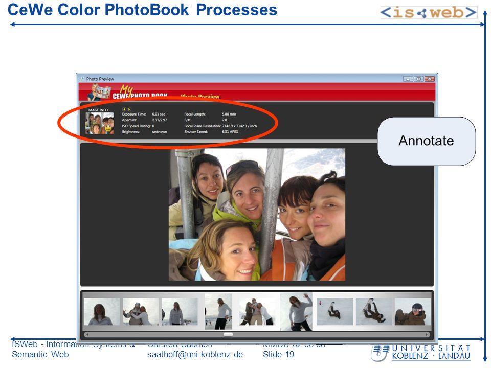 ISWeb - Information Systems & Semantic Web Carsten Saathoff saathoff@uni-koblenz.de MMDB 02.06.08 Slide 19 CeWe Color PhotoBook Processes