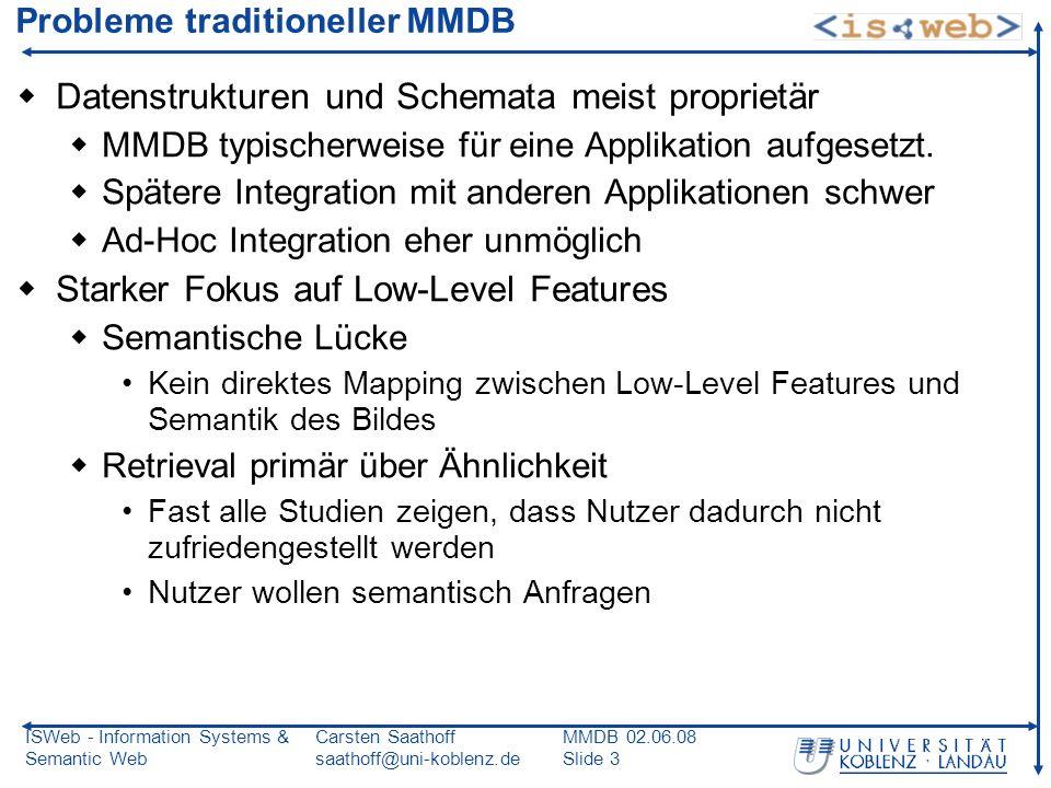 ISWeb - Information Systems & Semantic Web Carsten Saathoff saathoff@uni-koblenz.de MMDB 02.06.08 Slide 3 Probleme traditioneller MMDB Datenstrukturen