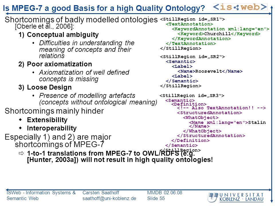 ISWeb - Information Systems & Semantic Web Carsten Saathoff saathoff@uni-koblenz.de MMDB 02.06.08 Slide 55 Is MPEG-7 a good Basis for a high Quality Ontology.