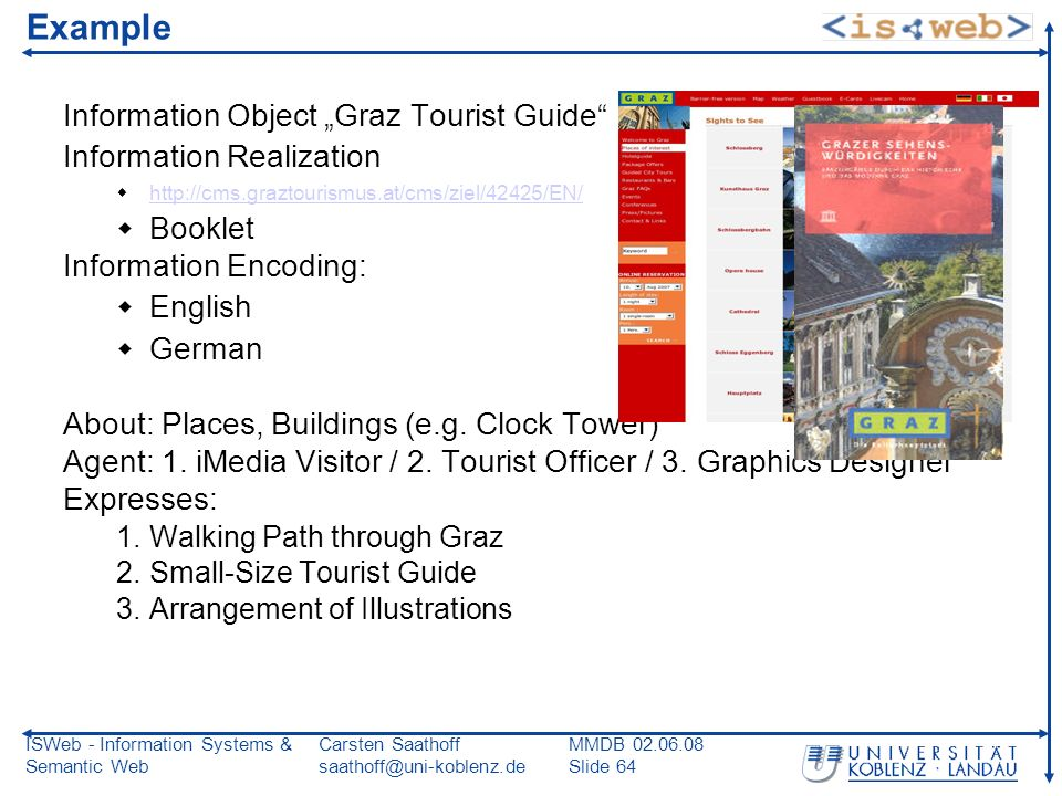 ISWeb - Information Systems & Semantic Web Carsten Saathoff saathoff@uni-koblenz.de MMDB 02.06.08 Slide 64 Example Information Object Graz Tourist Guide Information Realization http://cms.graztourismus.at/cms/ziel/42425/EN/ Booklet Information Encoding: English German About: Places, Buildings (e.g.