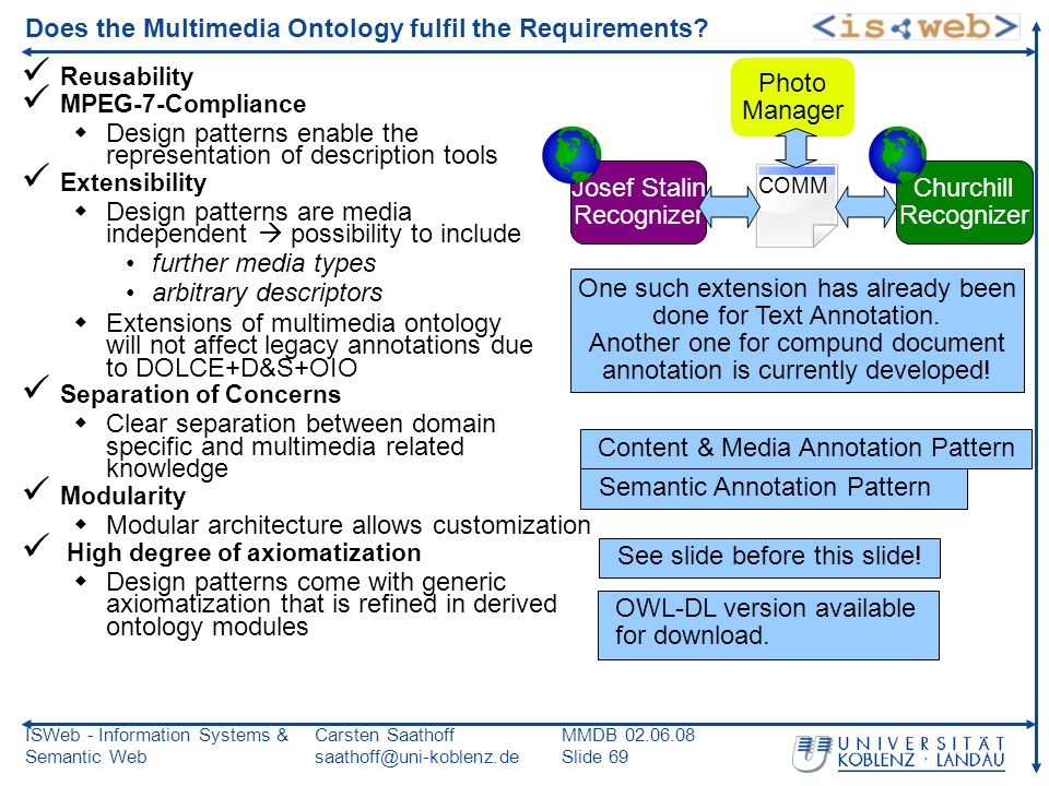 ISWeb - Information Systems & Semantic Web Carsten Saathoff saathoff@uni-koblenz.de MMDB 02.06.08 Slide 69 Does the Multimedia Ontology fulfil the Requirements.