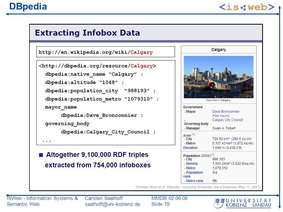 ISWeb - Information Systems & Semantic Web Carsten Saathoff saathoff@uni-koblenz.de MMDB 02.06.08 Slide 79 DBpedia