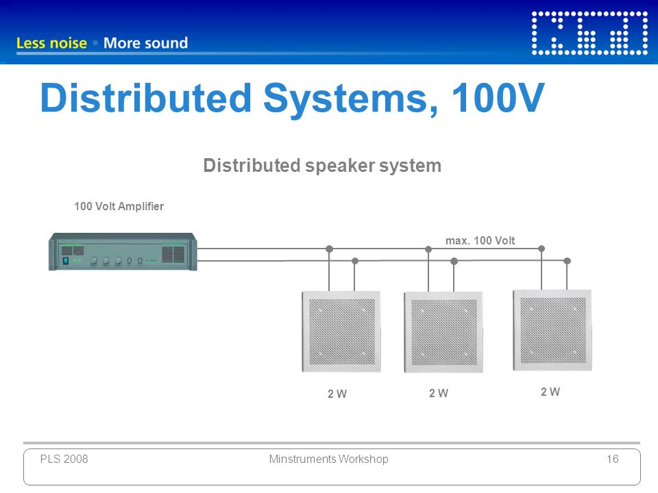 PLS 2008Minstruments Workshop16 Distributed Systems, 100V 100 Volt Amplifier max. 100 Volt Distributed speaker system 2 W