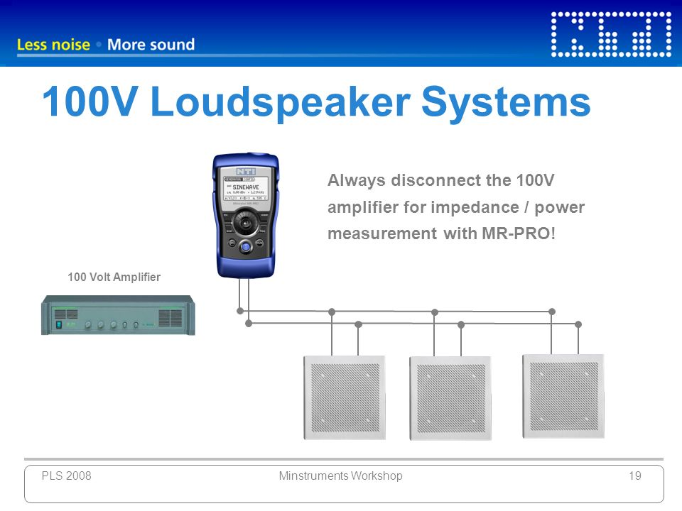 PLS 2008Minstruments Workshop19 100V Loudspeaker Systems Always disconnect the 100V amplifier for impedance / power measurement with MR-PRO! 100 Volt