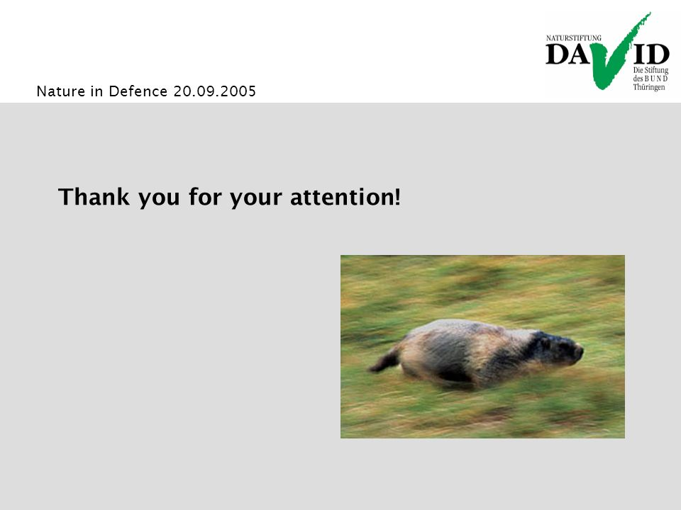 Nature in Defence 20.09.2005 Thank you for your attention!