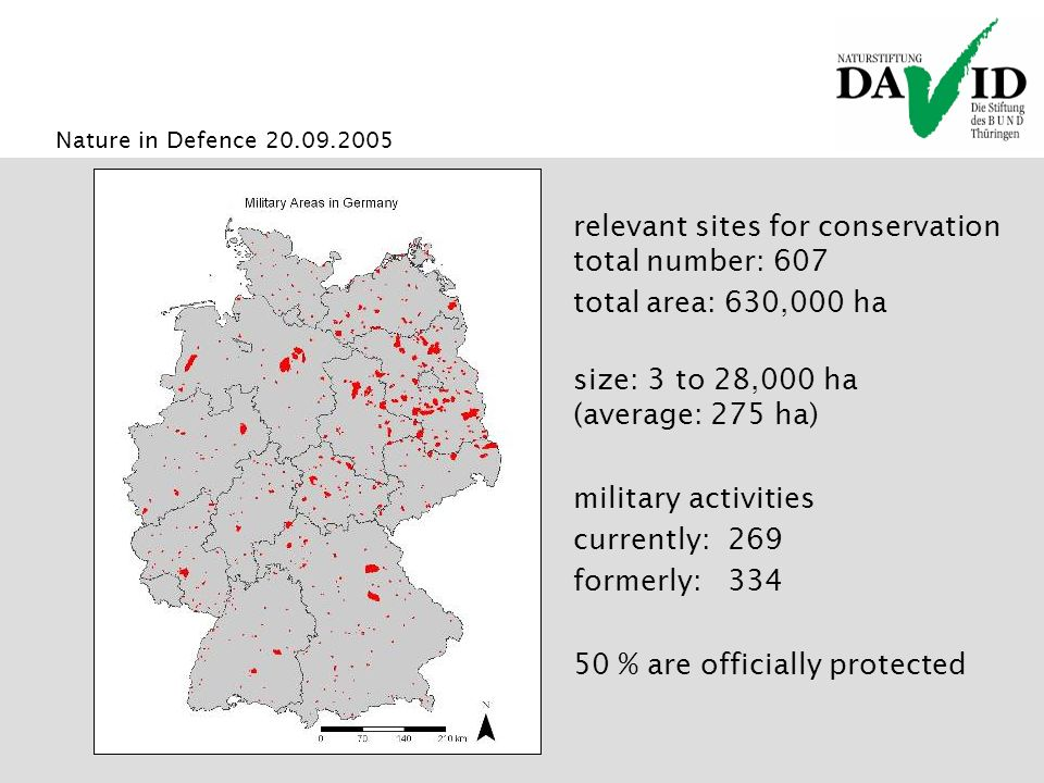 Nature in Defence 20.09.2005 relevant sites for conservation total number: 607 total area: 630,000 ha size: 3 to 28,000 ha (average: 275 ha) military activities currently: 269 formerly: 334 50 % are officially protected