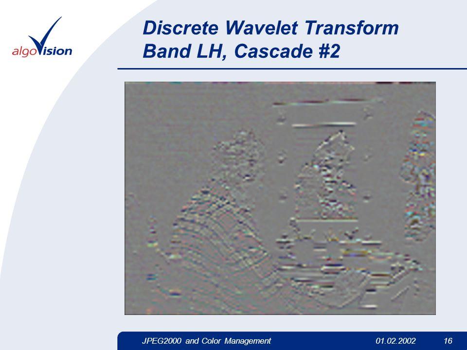 JPEG2000 and Color Management01.02.2002 16 Discrete Wavelet Transform Band LH, Cascade #2