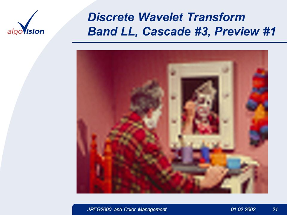 JPEG2000 and Color Management01.02.2002 21 Discrete Wavelet Transform Band LL, Cascade #3, Preview #1