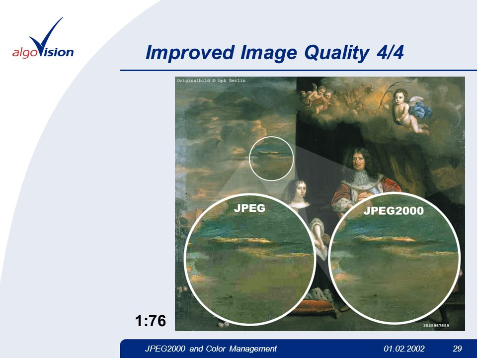JPEG2000 and Color Management01.02.2002 29 Improved Image Quality 4/4 1:76