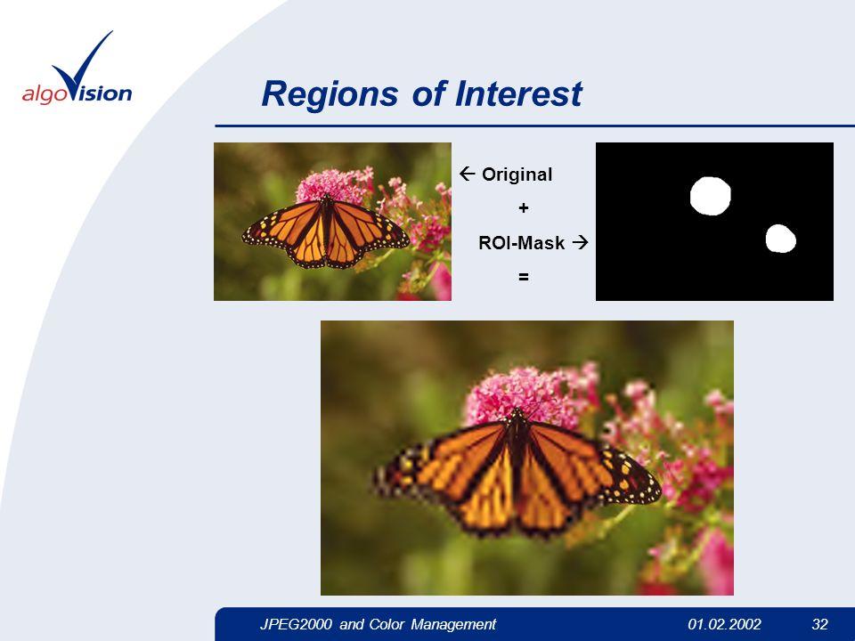 JPEG2000 and Color Management01.02.2002 32 Regions of Interest Original + ROI-Mask =
