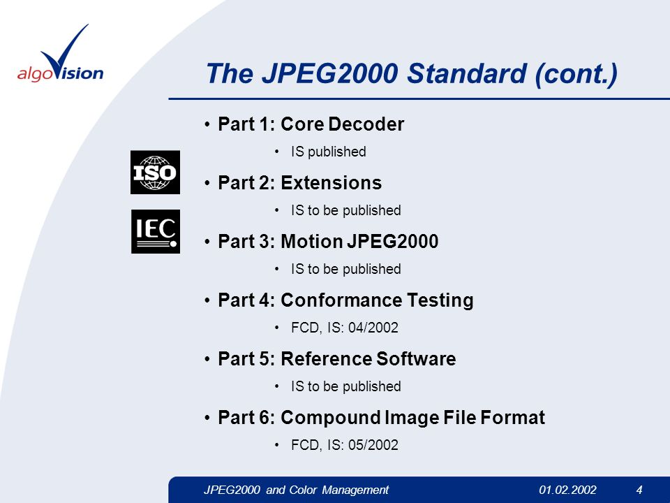 JPEG2000 and Color Management01.02.2002 4 The JPEG2000 Standard (cont.) Part 1: Core Decoder IS published Part 2: Extensions IS to be published Part 3