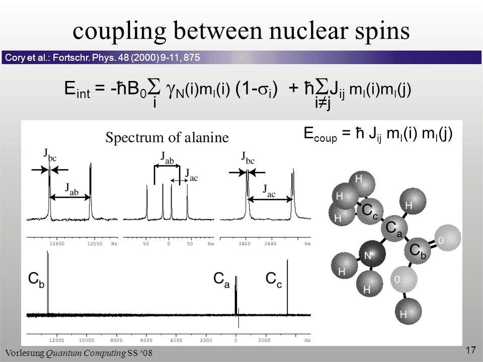 Vorlesung Quantum Computing SS 08 17 coupling between nuclear spins Cory et al.: Fortschr. Phys. 48 (2000) 9-11, 875 E coup = ħ J ij m I (i) m I (j) E
