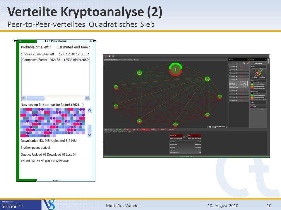 Verteilte Kryptoanalyse (2) Peer-to-Peer-verteiltes Quadratisches Sieb 10. August 201010Matthäus Wander