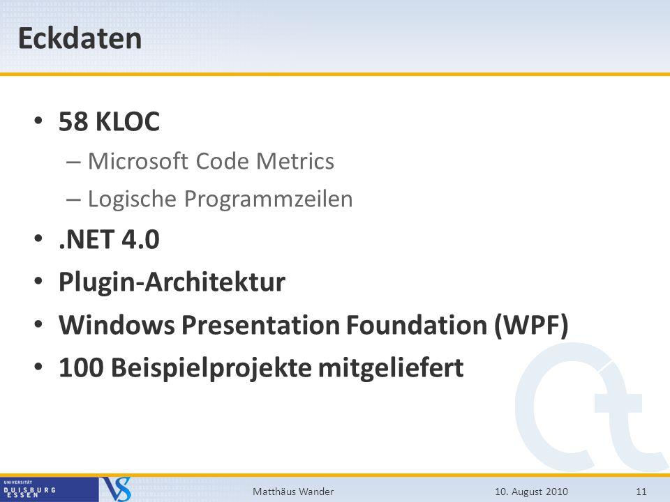 Eckdaten 58 KLOC – Microsoft Code Metrics – Logische Programmzeilen.NET 4.0 Plugin-Architektur Windows Presentation Foundation (WPF) 100 Beispielproje